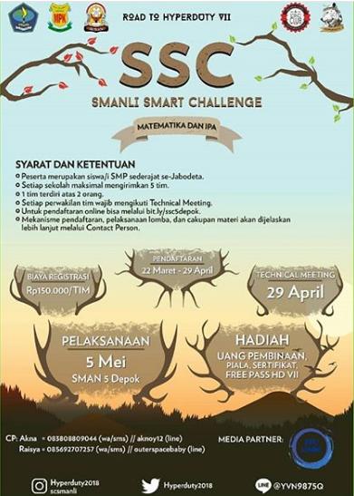 Lomba Matematika & IPA SMANLI Smart Challenge 2018