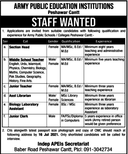 Latest Jobs in Pak Army Public Education Institutes 2021  - Army Public School and College System