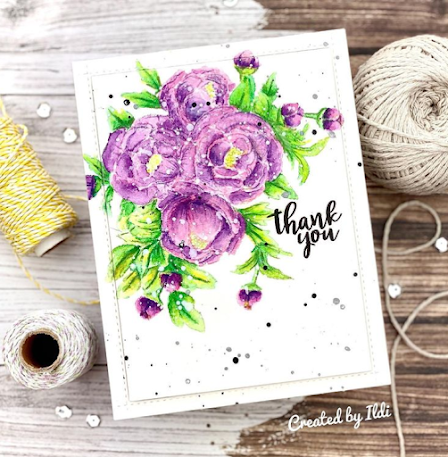 Thank you by Ildi features Peony Blooms by Newton's Nook Designs; #newtonsnook, #inkypaws, #cardmaking, #flowercards, #watercolor, #springcards