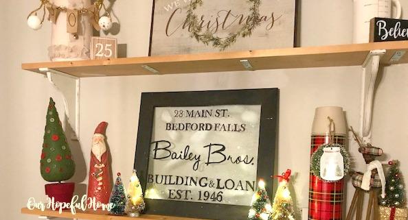 shelves Christmas decor Santa trees signs