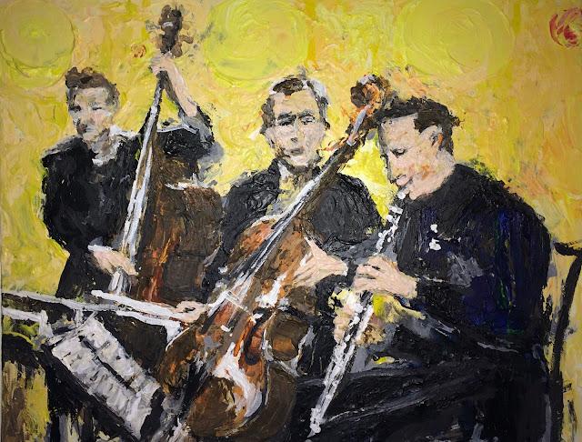 Orchestre de trois musiciens peint à l'acrylique sur toile par Karine Babel