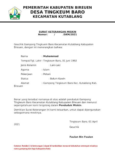 Surat Keterangan Miskin Untuk Beasiswa BPSDM Aceh