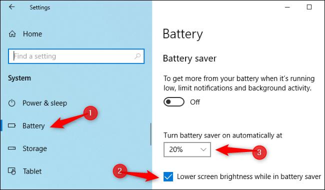إعدادات سطوع Battery Saver في تطبيق إعدادات Windows 10.