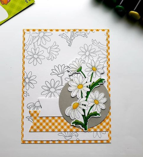Terra's card showcases Dainty Daisies by Newton's Nook Designs; #newtonsnook, #inkypaws, #cardmaking, #springcard