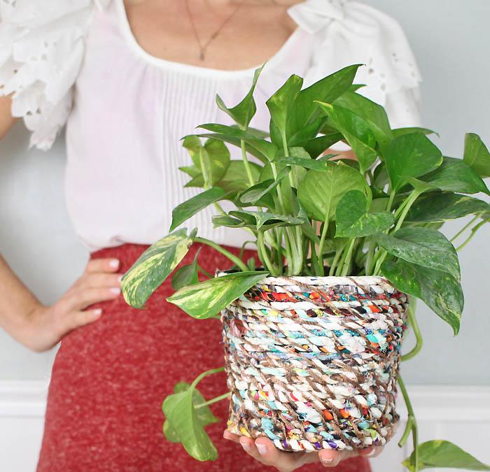 Fabric Twine Flower Pot DIY