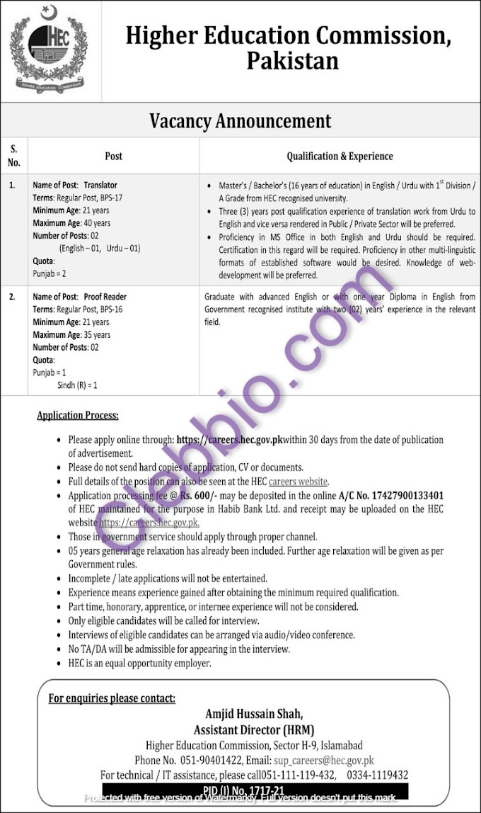 Higher Education Commission Islamabad HEC Jobs 2021 Advertisement Apply Online careers.hec.gov.pk