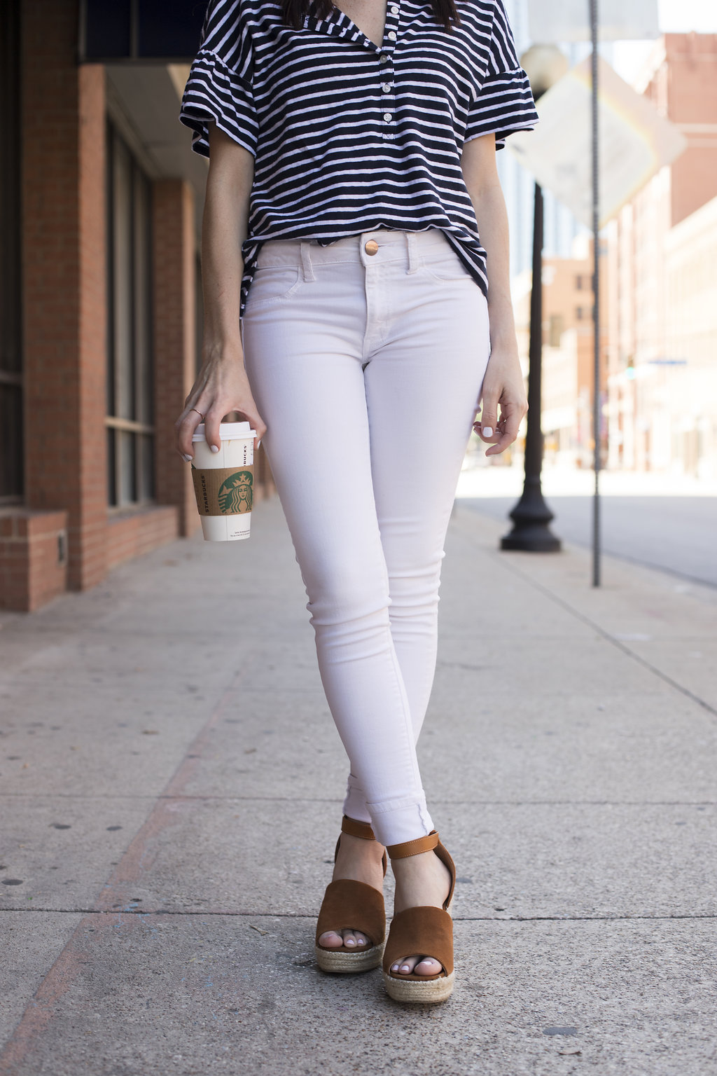 White denim and espadrille wedges