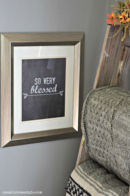 So very blessed free printable art, alongside a beautiful rustic blanket ladder