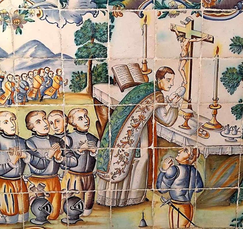A missa antes da batalha, azulejo do milagre de Daroca