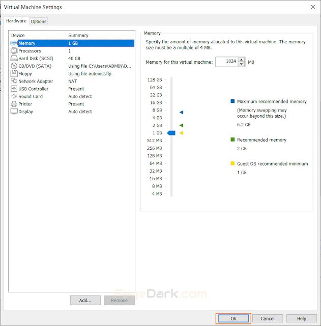 điều chỉnh: RAM, CPU, Ổ cứng, Card mạng, USB, Card âm thanh, máy in, chế độ hiển thị..