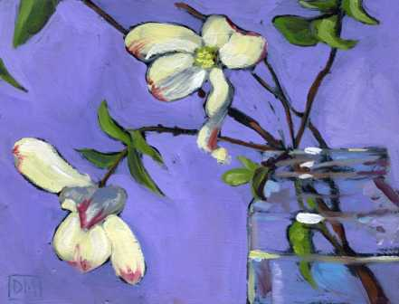 floral painting, dogwood flowers, purple, dogwood blossoms in jar, debbiemillerpainting.blogspot.com