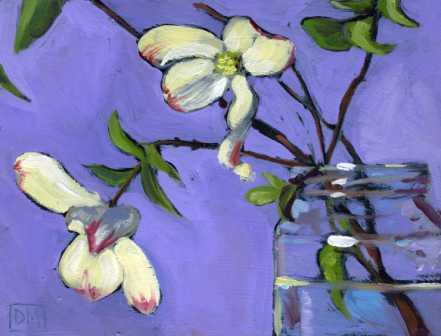 floral painting, dogwood flowers, purple, dogwood blossoms in jar, debbiemillerpainting.blogspot.com