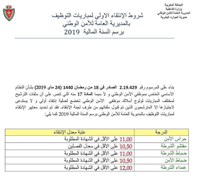 شروط الانتقاء الأولي لمباريات التوظيف بالمديرية العامة للأمن الوطني 2019
