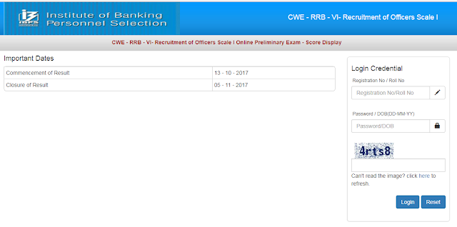 IBPS 2017: RRB Officer Scale-I Scorecard Out