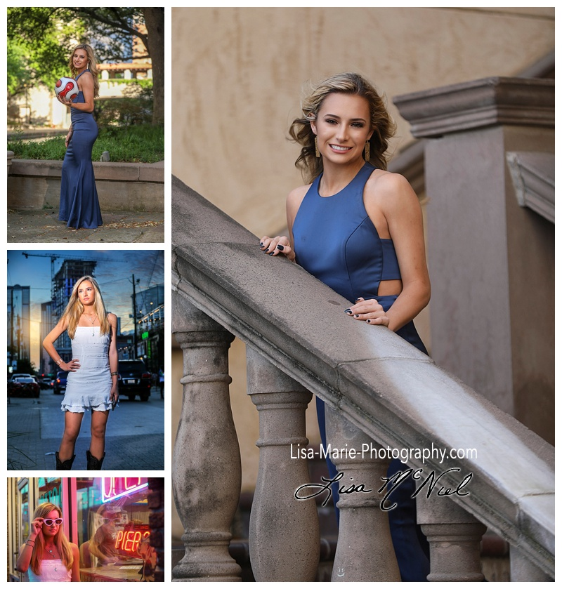 pretty blond teen in prom dress in Las Calinas and Deep Ellum