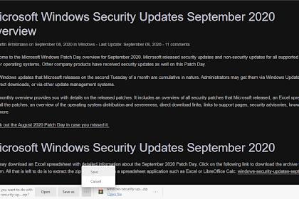 Microsoft Edge baru membuka / menyimpan / membatalkan perintah untuk mengunduh