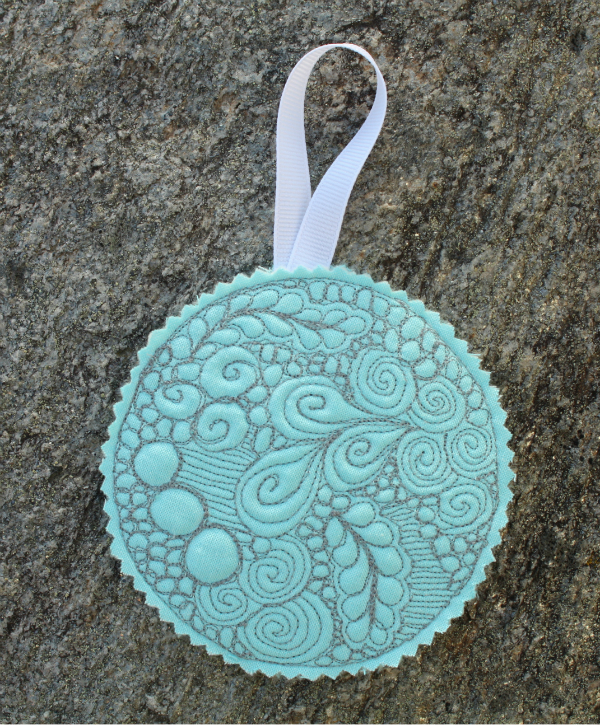 Free motion quilted Christmas ornament | DevotedQuilter.blogspot.com