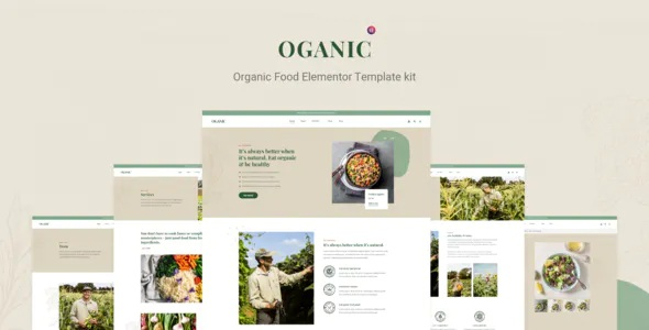 Best Organic Food Elementor Template kit