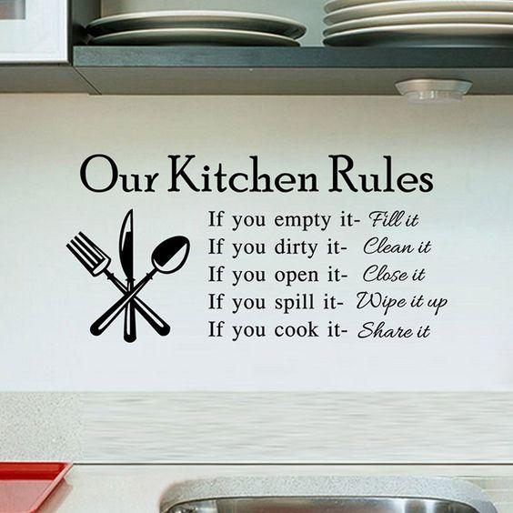 Peraturan Di Dapur Sebagai Stiker Dinding