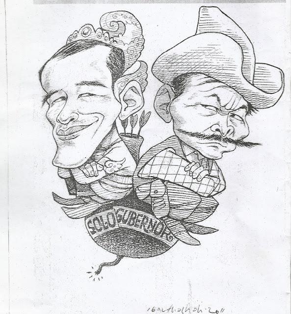 Karikatur Jokowi vs Bibit Waluyo karya Abdullah Ibnu Thalhah. Karikatur ini pernag dimuat di Suara Merdeka pada 3 Juli 2011.