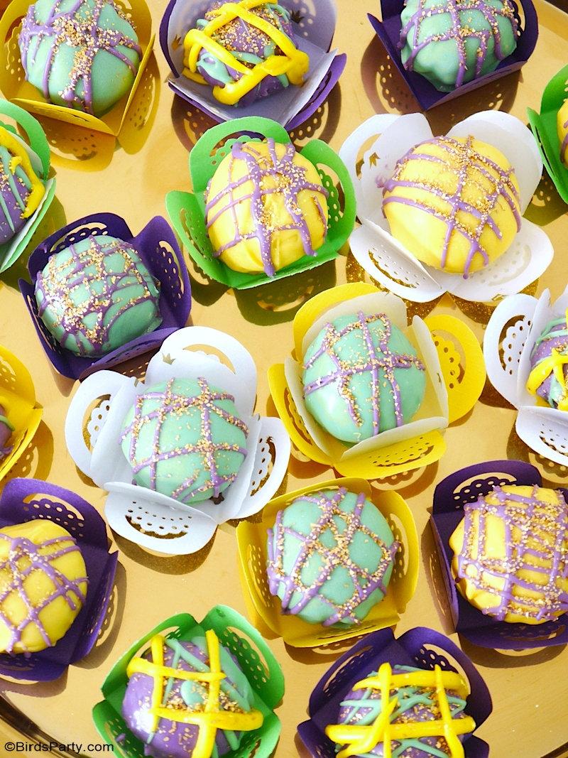 Recette de Truffes Oreo + Caissettes DIY avec Patron GRATUIT - une recette sans cuisson qui semble si jolie et festive pour votre fête du Mardi Gras! by BirdsParty.com @birdsparty #mardigras #carnaval #truffes #oreo #truffeschocolat #recette