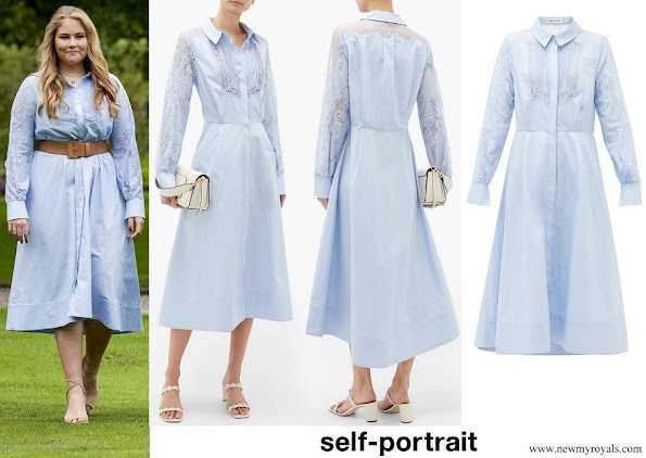 Princess Amalia wore Self-portrait Lace-panel Cotton Midi Shirt Dress