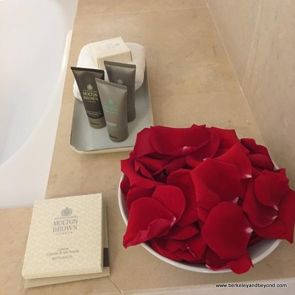 red rose petals ready for a bath at Taj Campton Place San Francisco