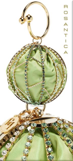 Rosantica green Alice crystal-embellished cage clutch bag #bags #eveningbags #rosantica #brilliantluxury