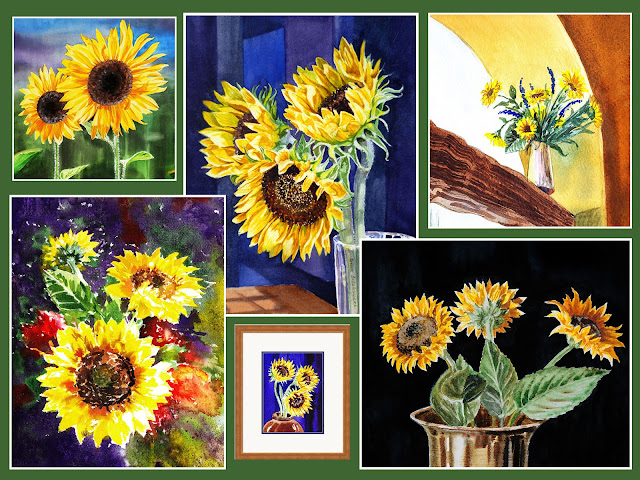 Bestselling watercolor Sunflowers Painting artist Irina Sztukowski