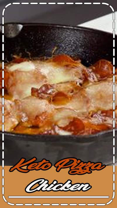Kids love this easy keto dinner recipe! Tender chicken thighs topped with marinara, mozzarella, and pepperoni. It's fast, delicious, and a crowd pleaser. One of my favorite low carb dinners. #pizzachicken #lowcarbrecipes #easymeals #easydinnerrecipes #kidfriendly