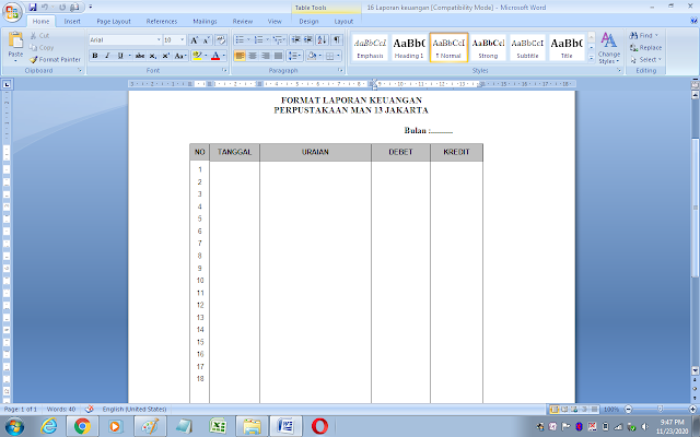 Contoh format laporan keuangan perpustakaan sekolah