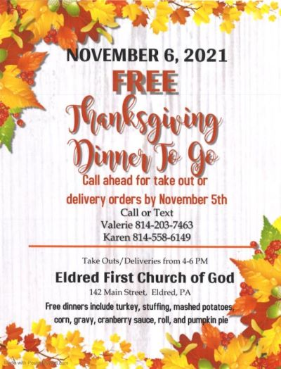 11-6 Free Thanksgiving To Go At The Eldred First Church Of God