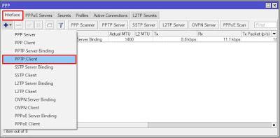 1. Menambahkan PPTP Client mikrotik