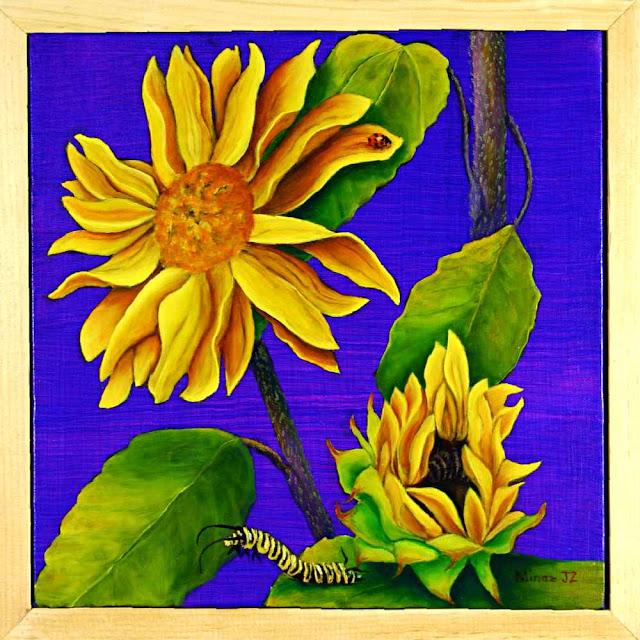 "Sunflower Diptych (BOTTOM)  Lady Bug & Caterpillar  12""x 12"" oil on canvas  by Minaz Jantz"