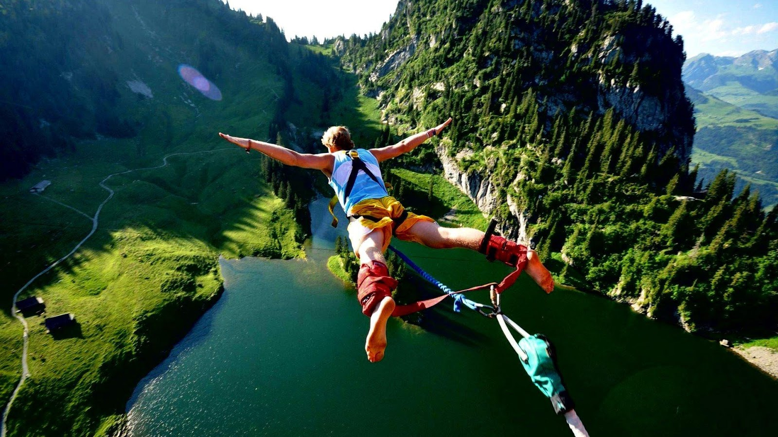 Bungee Jumping in a High Hills