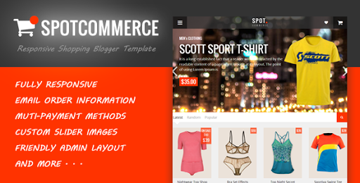 SpotCommerce Premium Blogger Shopping Template Free Download