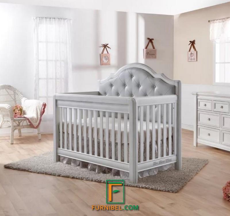 Box Tempat Tidur Bayi Kayu Mahoni Duco Putih