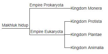 Klasifikasi empat kingdom ini kemudian dibedakan menjadi organisme yang inti selnya memiliki selaput dan organisme yang inti selnya tidak memiliki selaput