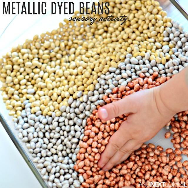 Metallic dyed beans sensory bin for kids