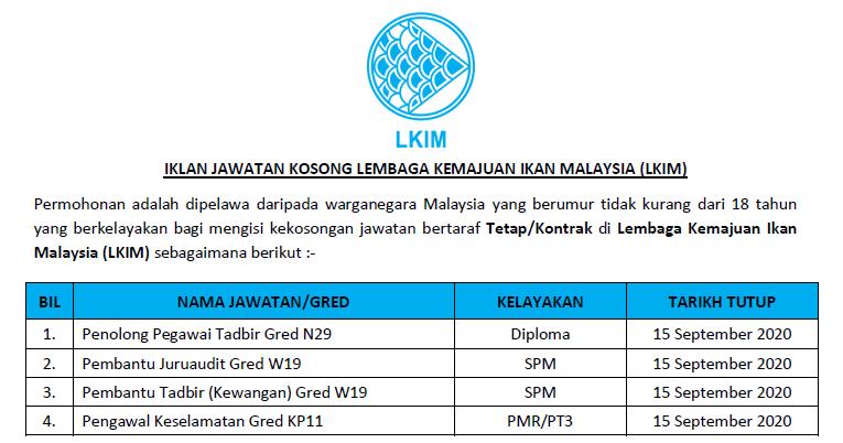 Permohonan Jawatan Kosong Di Lembaga Kemajuan Ikan Malaysia Lkim Kelayakan Pmr Spm Diploma