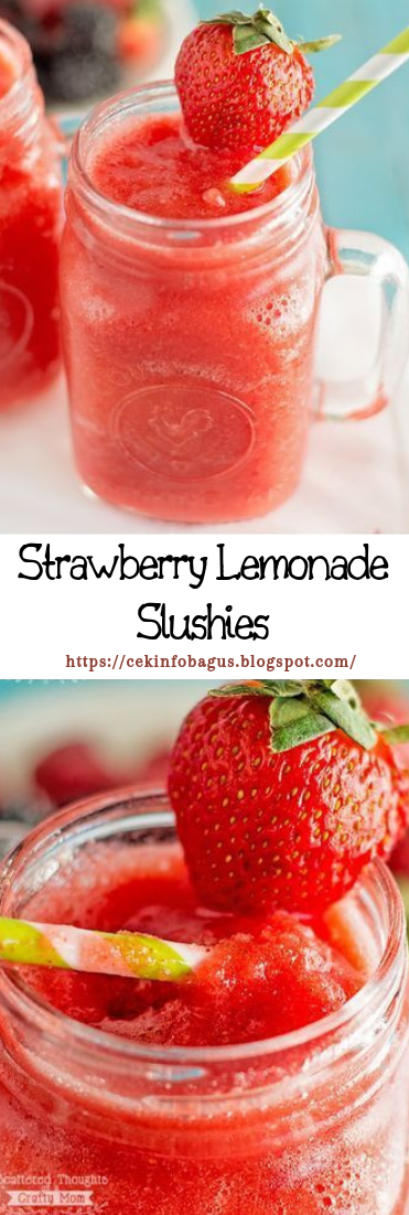 Strawberry Lemonade Slushies #healthydrink #easyrecipe