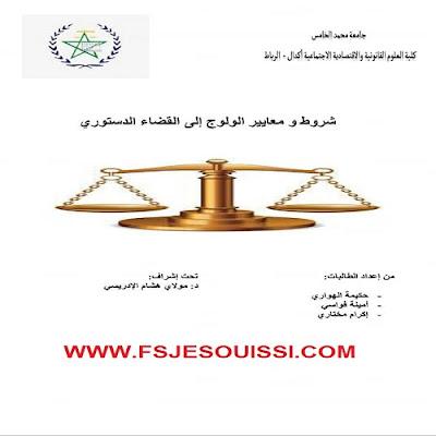 شروط معايير الولوج إلى القضاء الدستوري - للتحميل PDF