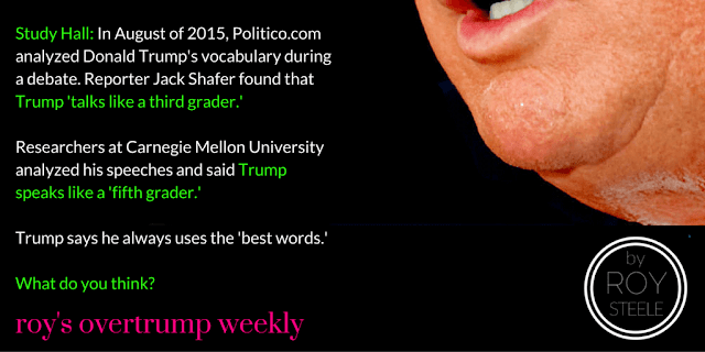A photo of Donald Trump's lower lip, bleached teeth, chin, double chin and scar on a black background.