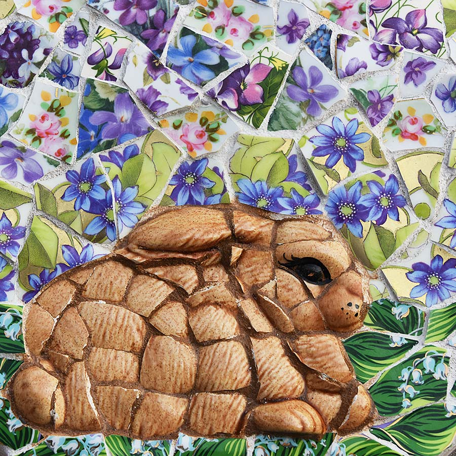 Mosaic bunny and flowers by Jeanne Selep