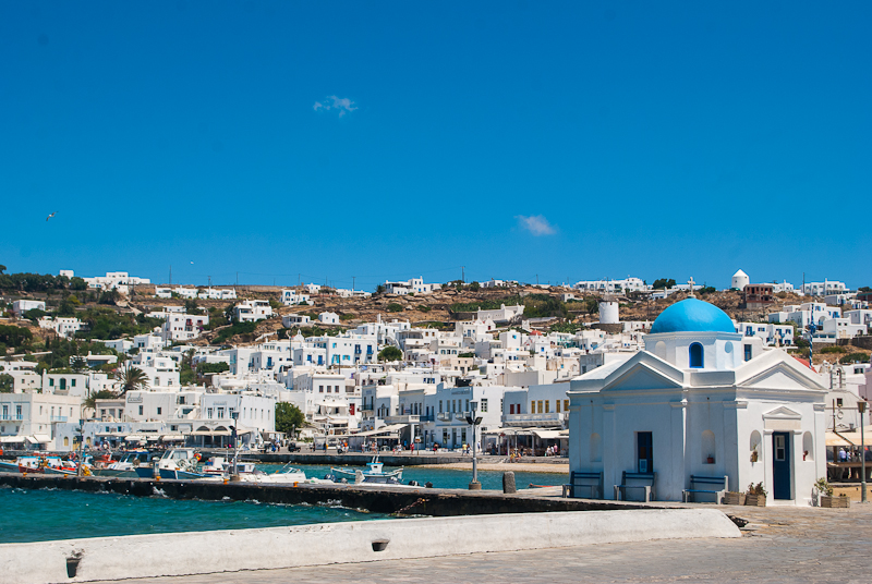 Blue skies and white architecture in mykonos town
