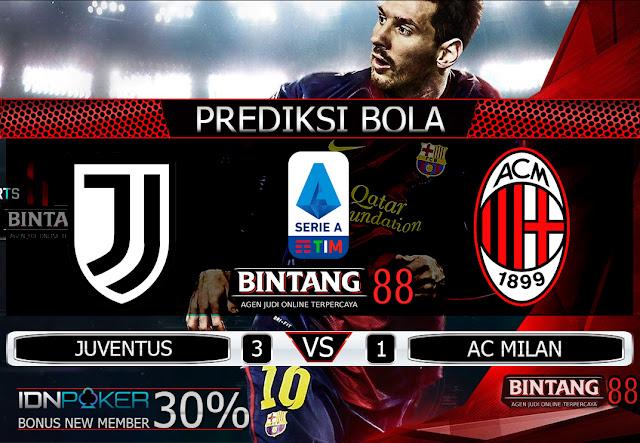 PREDIKSI BOLA - Pada hari Senin, 11 November 2019 pukul 02:45 waktu indonesia barat akan di adakan laga pertandingan Liga Italia antara Juventus vs AC Milan. Pertandingan ini nantinya akan di laksanakan di Stadion Juventus.