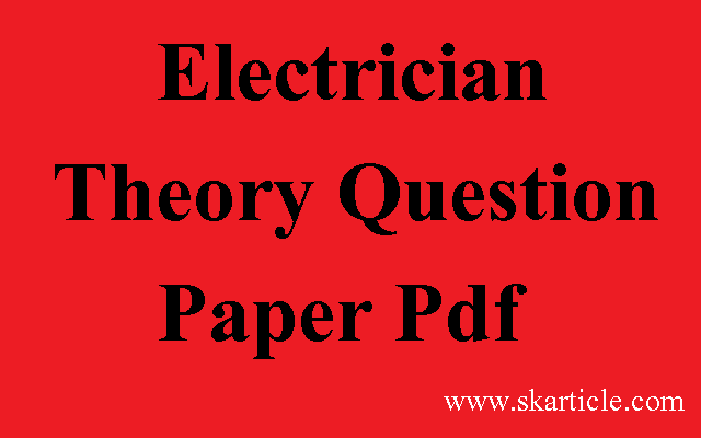 NCVT Electrician Theory Question Paper Pdf