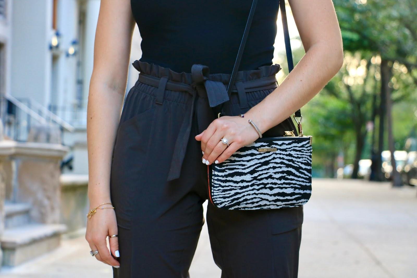 Nyc fashion blogger Kathleen Harper wearing paper bag pants from Athleta.