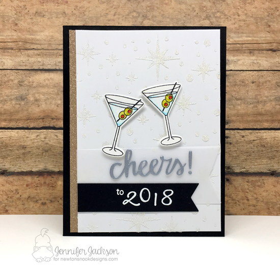 Cheers to 2018 by Jennifer Jackson | Cocktail Mixer and Years of Cheers Stamp Sets and Starfield Stencil by Newton's Nook Designs #newtonsnook