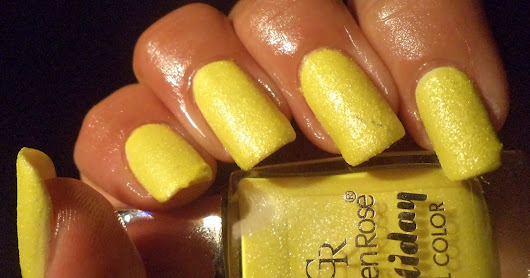 2563 Golden rose neon texture nails